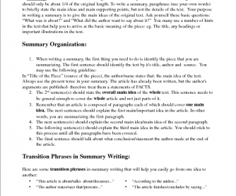 Writing a Non-Fiction Summary