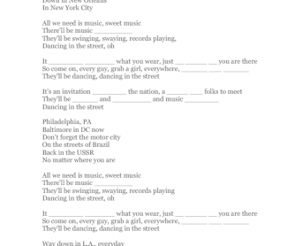 Song Worksheet: Dancing in the Street
