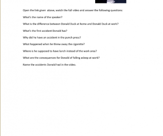 Movie Worksheet: How to Have an Accident at Work, Donald Duck