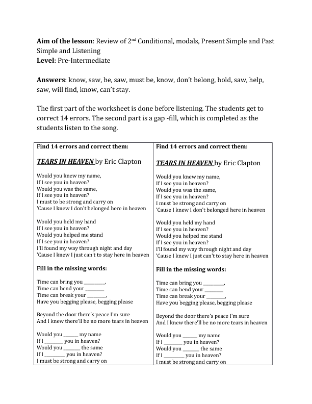 Song Worksheet: Tears in Heaven (Review of 2nd Conditional and Verb ...