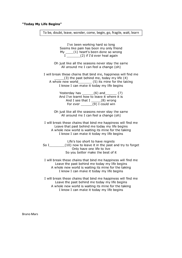 Lyric find my lyrics : Worksheet: Today My Life Begins by Bruno Mars
