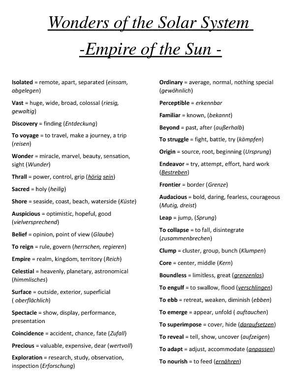 Movie Worksheet: Wonders of the Solar System (Vocabulary and Quiz)
