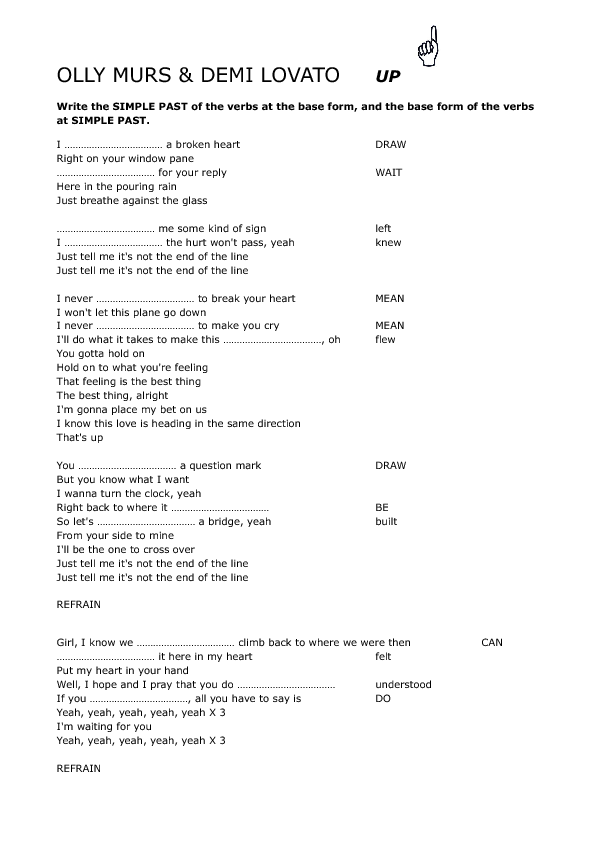 Song Worksheet Up By Olly Murs Demi Lovato