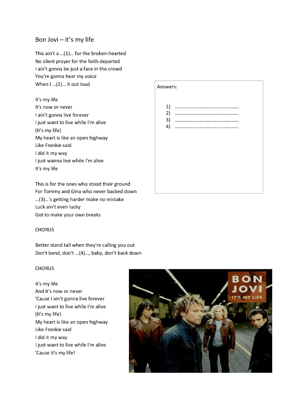 Song Worksheet It 39 s My Life by