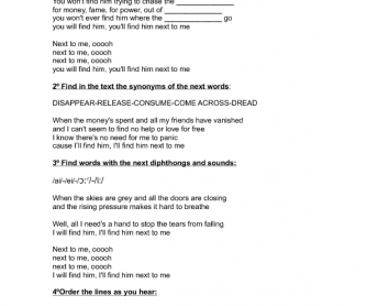 Song Worksheet: Next to Me