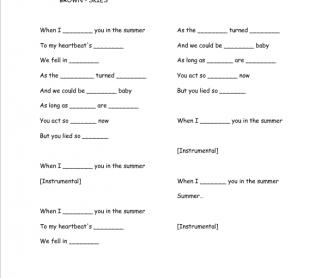 Song Worksheet: Summer by Calvin Harris