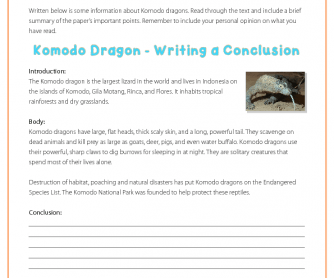 Writing a Conclusion - Komodo Dragons