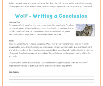 Writing a Conclusion - Wolves