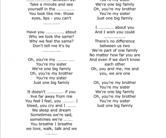 Song Worksheet: One Big Family by Maher Zain