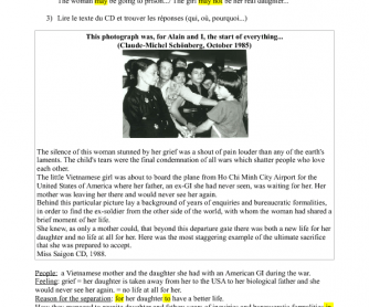 Movie Worksheet: Miss Saigon