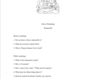 Movie Worksheet Ratatouille