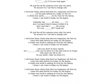 Song Worksheet: Today My Life Begins by Bruno Mars
