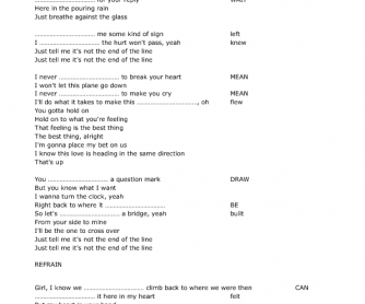 Song Worksheet: Up by Olly Murs & Demi Lovato
