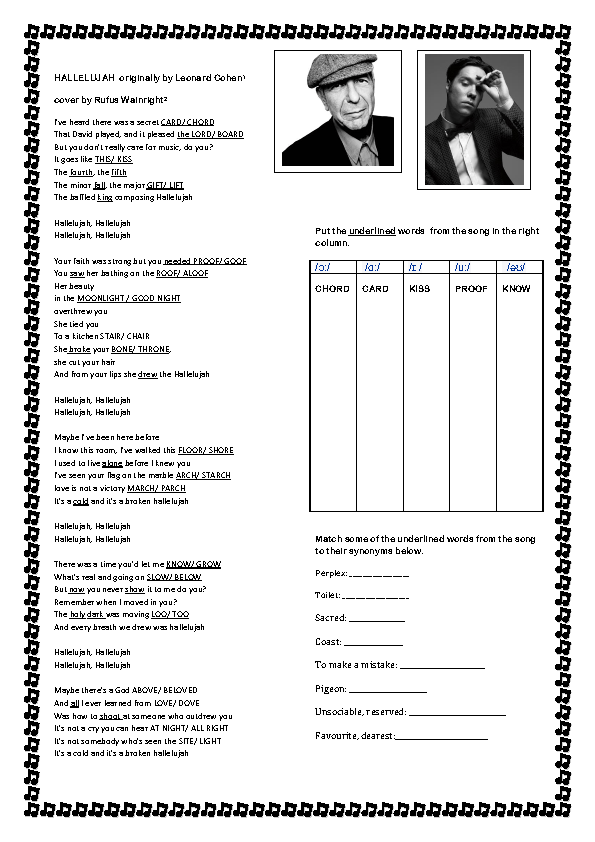 Weirdmailus  Ravishing  Free Pronunciation Worksheets With Exciting Song Worksheet Hallelujah By Rufus Wainright With Enchanting Pictograph Worksheets For Grade  Also Worksheets For Physical Education In Addition Esl Noun Worksheets And Printable Multiplying Decimals Worksheet As Well As Worksheets On Direct Objects Additionally Variables And Algebraic Expressions Worksheets From Busyteacherorg With Weirdmailus  Exciting  Free Pronunciation Worksheets With Enchanting Song Worksheet Hallelujah By Rufus Wainright And Ravishing Pictograph Worksheets For Grade  Also Worksheets For Physical Education In Addition Esl Noun Worksheets From Busyteacherorg