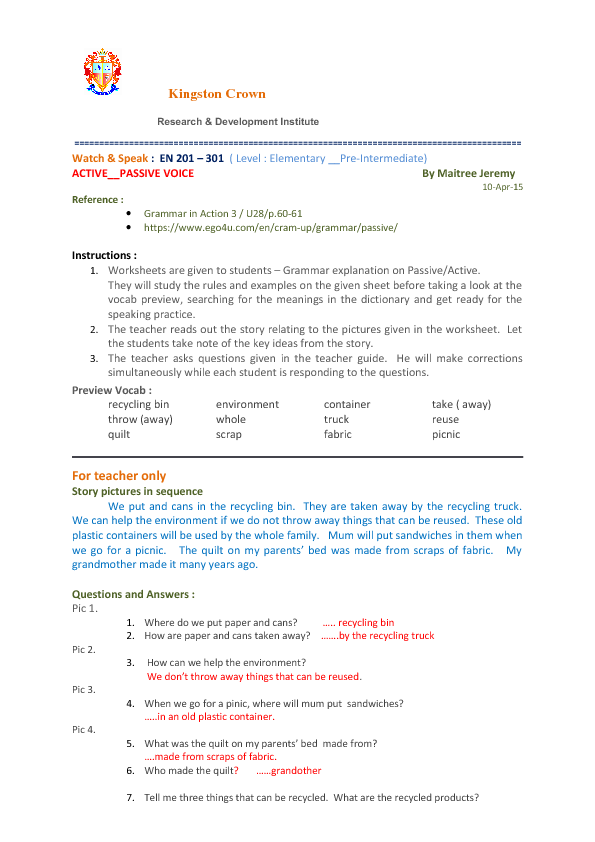 241 FREE Passive Voice Worksheets – Active Reading Worksheets