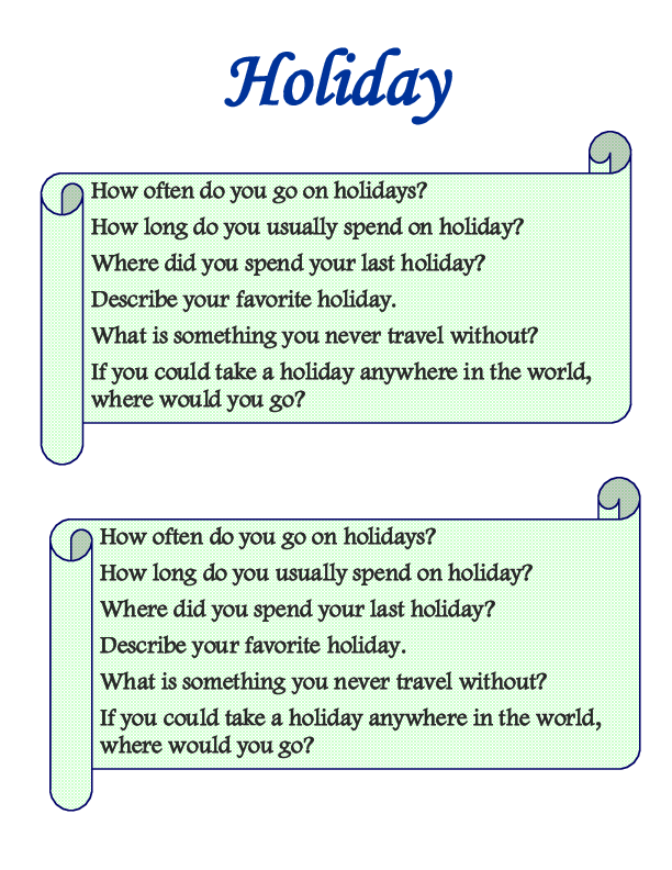 Holiday Speaking Cards