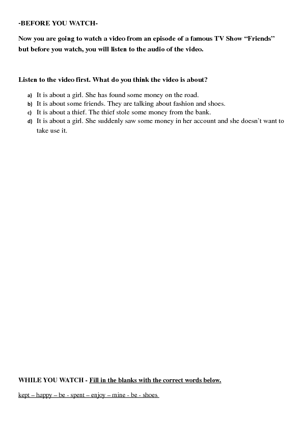 Movie Worksheet Friends Second Conditional Integrated Skills