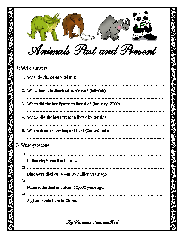 Animals Past And Present Grammar Worksheet
