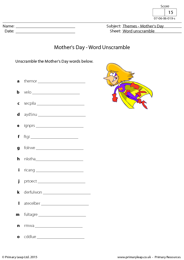 Mother 39 s Day Word Scramble
