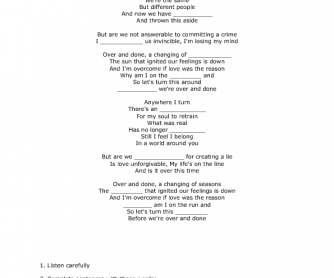 Song Worksheet: Over and Done by Amaranthe