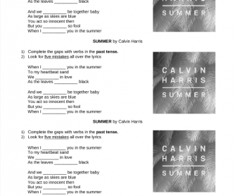 Song Worksheet: Summer by Calvin Harris