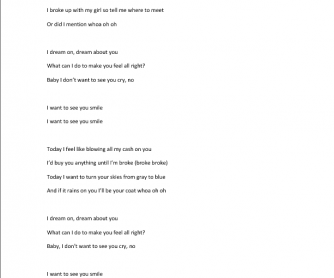 Song Worksheet: Smile by R5