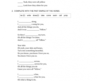 Song Worksheet: Yellow by Coldplay