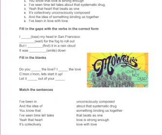 Song Worksheet: San Francisco by The Mowgli's