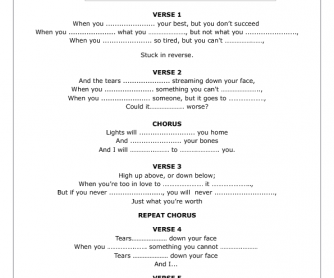Song Worksheet: Fix You by Coldplay