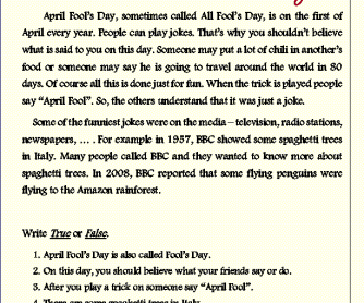 April Fool's Day/ Reading
