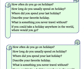 Holiday, Speaking Cards
