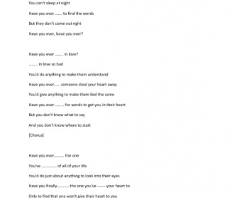 Song Worksheet: Present Perfect Song by Rayana Brandy