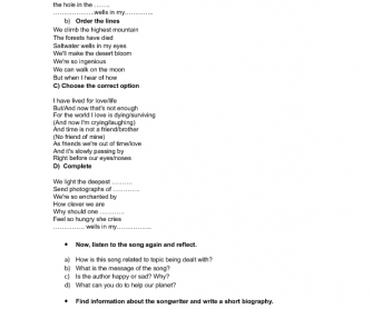Song Worksheet: Saltwater by Julian Lennon