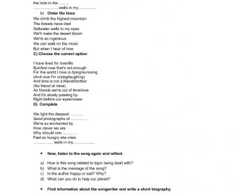 Song Worksheet: Saltwater by Julian Lennon