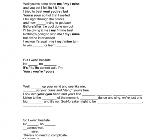Song Worksheet:Song by Jazon Mraz