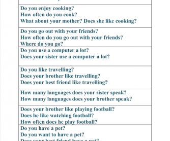Present Simple- Discussion Questions