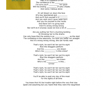 Song Worksheet: Balaklava by Arctic Monkeys