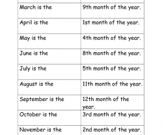 Months and Numbers - Matching Exercise