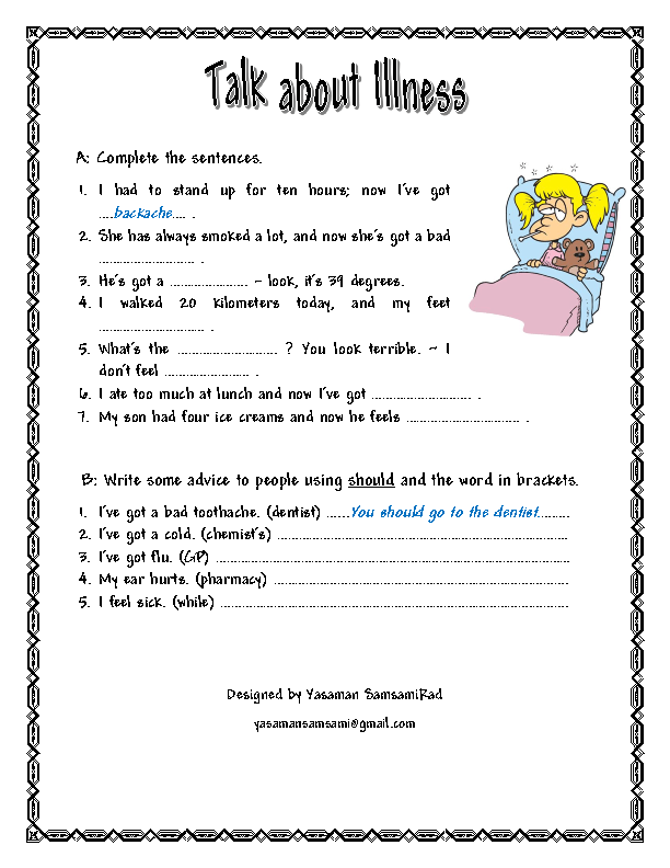 Worksheets Health Education Worksheets 199 free printable health activities worksheets talk about illnesses