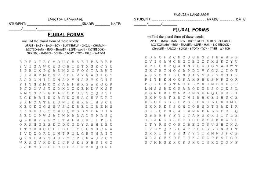 161 FREE SingularPlural Nouns Worksheets – Irregular Plural Nouns Worksheet 4th Grade