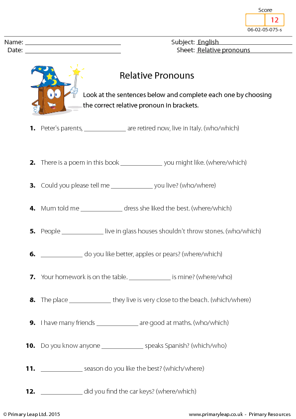 Lesson Relative Pronouns 1 – Relative Pronoun Worksheet