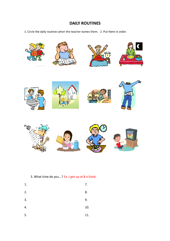 Daily Routines Worksheet for Kids