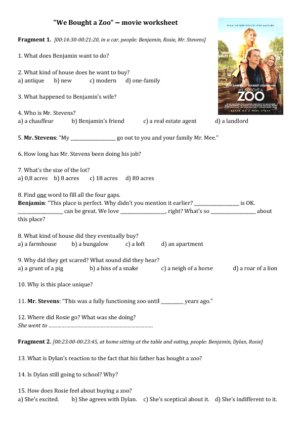 Movie Worksheet We Bought A Zoo