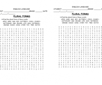 Wordsearch- Plural Nouns