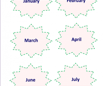 Card Game: Months of a Year