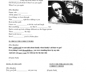 Song Worksheet: See You Again by Wiz Khalifa (Fast and Furious 7)