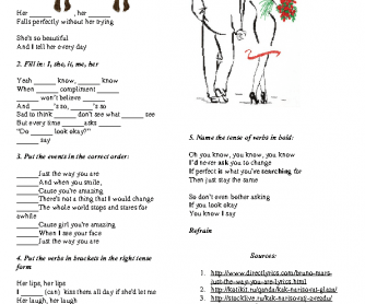 Song Worksheet: Just the Way You Are by Bruno Mars