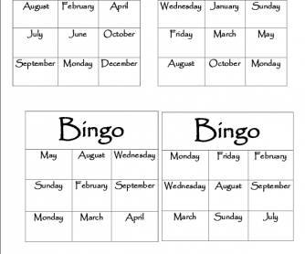 bingo ards months days. Black Bedroom Furniture Sets. Home Design Ideas