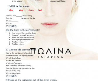 Song Worksheet: Million Voices by Polina Gagarina (Eurovision 2015)