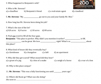 Movie Worksheet: We Bought a Zoo